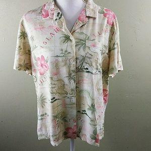 Alfred Dunner Tropical Print Shirt 14 EUC